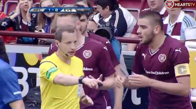 Willie Collum gives Everton a penalty (v Hearts pre-season 26th July 2015)