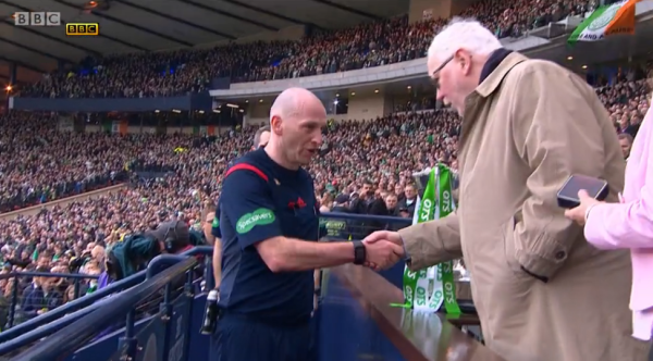 Bobby Madden receives momento (2015 Scottish League Cup Final)