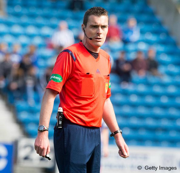KILMARNOCK, SCOTLAND - MAY 23:  Referee Euan Anderson at the Scottish premiership match between Kilmarnock and Ross County  at Rugby Park on May 23, 2015 in Kilmarnock, Scotland.  (Photo by Jeff Holmes/Getty Images)