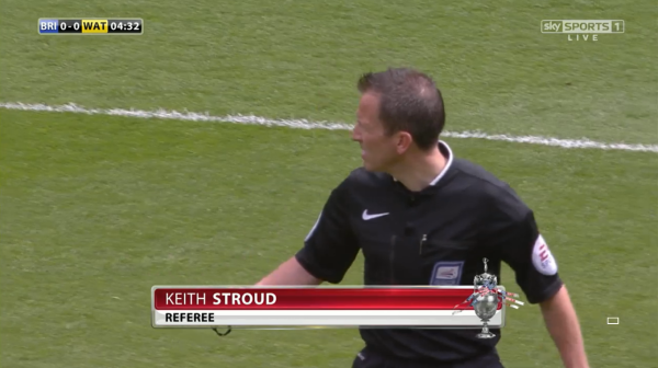 Keith Stroud referee (Brighton v Watford - 25th April 2015)