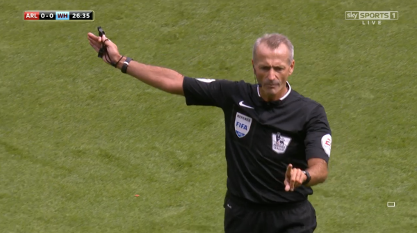 Martin Atkinson awards free-kick (Arsenal v West Ham - 9th August 2015)