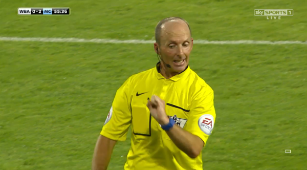 Mike Dean explains decision (WBA v Man City - 10th August 2015)