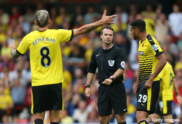 Paul Tierney in Premier League action (Watford v WBA - 15th August 2015)