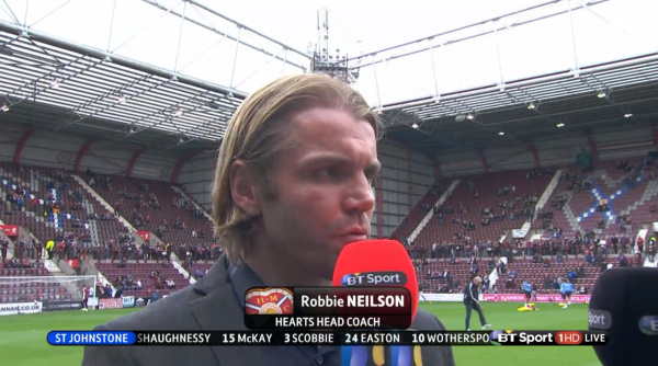 Robbie Neilson before KO (v St Johnstone - 2nd August 2015)