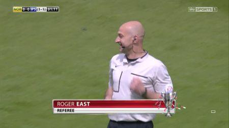 Roger East referee (Norwich v Ipswich PO SF 2nd leg - 16th May 2015)