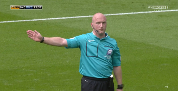 Simon Hooper awards free-kick (Lge Two PO Final - 23rd May 2015)