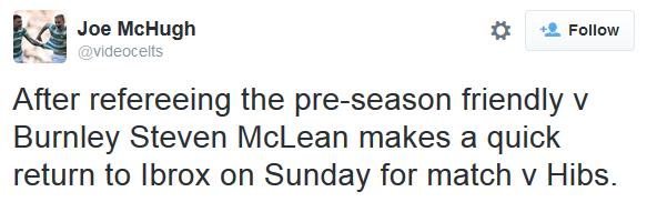 Steven McLean referee (Rangers v Hibernian - 18th August 2015)