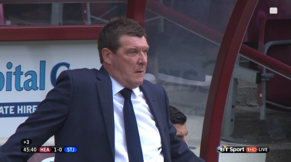 Tommy Wright on Tynecastle sidelines (v Hearts - 2nd August 2015)