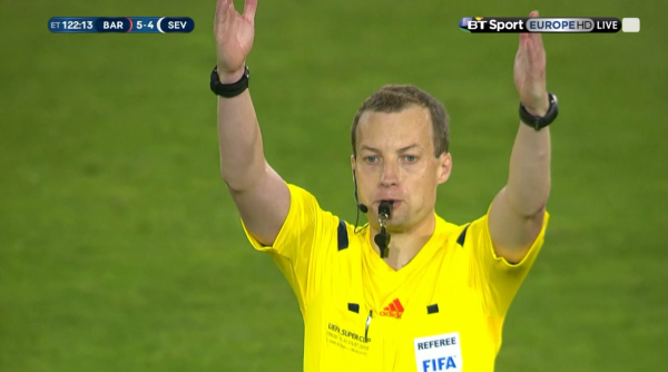 Willie Collum blows for full-time (Uefa Super Cup - 11th August 2015)