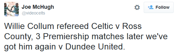 Willie Collum referee (Dundee Utd v Celtic - 18th August 2015)