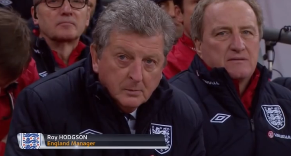 England boss Roy Hodgson at Wembley next to Ray Lewington