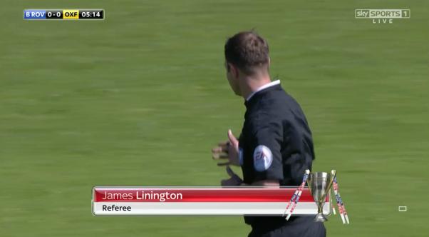 James Linington referee (Bristol Rovers v Oxford - 6th Sept 2015)