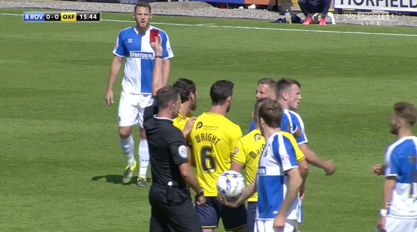 James Linington sends off Ollie Clarke (v Oxford - 6th Sept 2015)