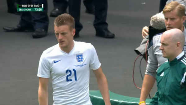 Jamie Vardy waiting to make England debut v ROI (7th June 2015)