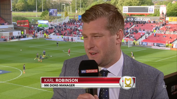 Karl Robinson (MK Dons boss at the County Ground - 11th May 2015)