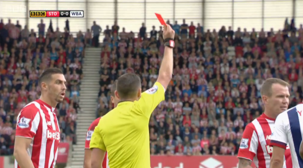 Michael Oliver sends off Ibrahim Afellay (v West Brom - 29th August 2015)