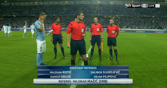 Milorad Mazic referee (Malmo v Celtic CL PO 2nd leg - 25th August 20150
