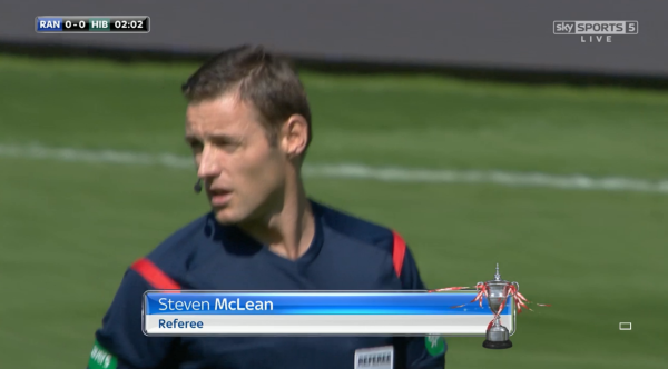 Steven McLean referee (Rangers v Hibernian - 23rd August 2015)