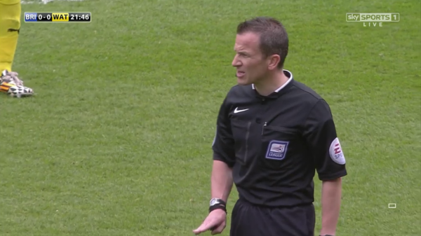 Keith Stroud watches on (Brighton v Watford - 25th April 2015)