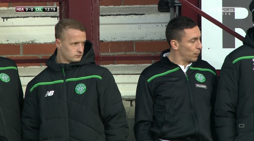 Leigh Griffiths and Scott Brown watch on (v Hearts - 27th Dec 2015)