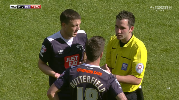 Chris Kavanagh with Baird and Butterfield (v MK Dons - 26th Sept 2015)