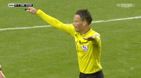 Mark Clattenburg signals (WBA v Chelsea - 23rd August 2015)