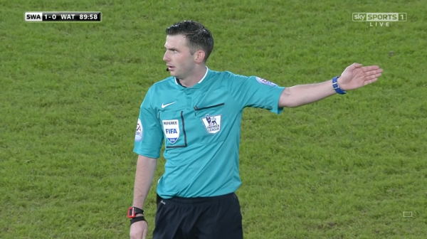Michael Oliver in charge (Swansea v Watford)