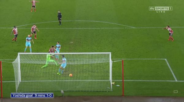 Maya Yoshida goal 9 mins 1-0 (v West Ham - 6th Feb 2016)