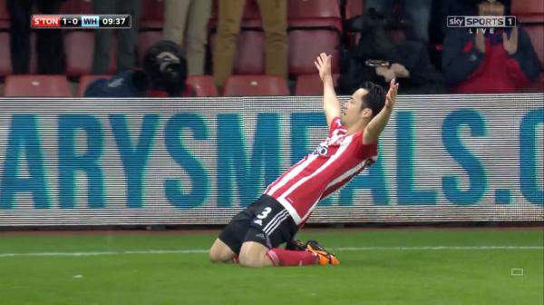 Maya Yoshida celebrates goal (v West Ham)