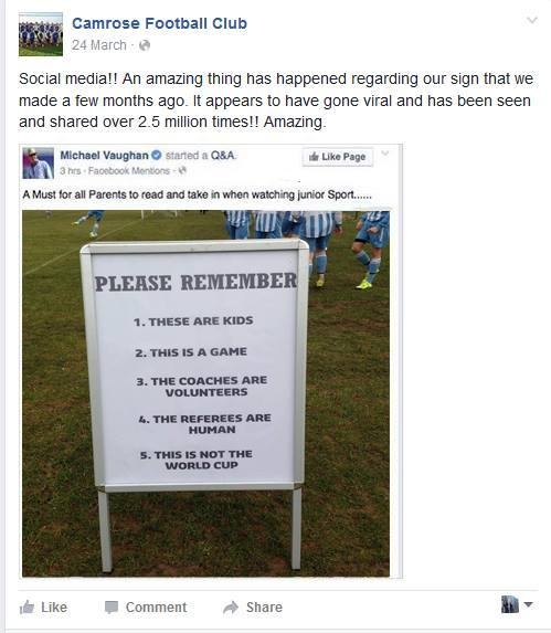 Camrose FC Facebook post with sign