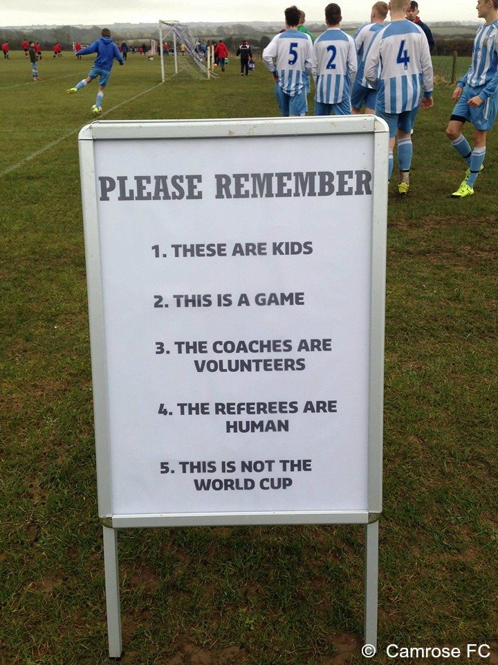 Camrose FC Respect sign