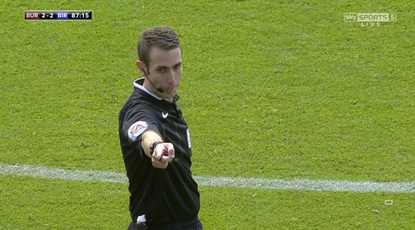 David Coote points (Burnley v Birmingham - 15th August 2015)