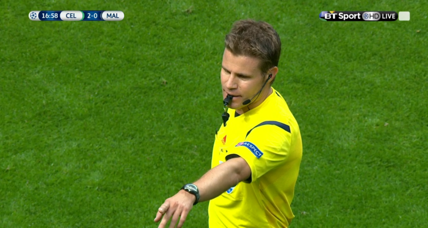 Felix Brych points (Celtic v Malmo CL PO 1st leg - 19th August 2015)