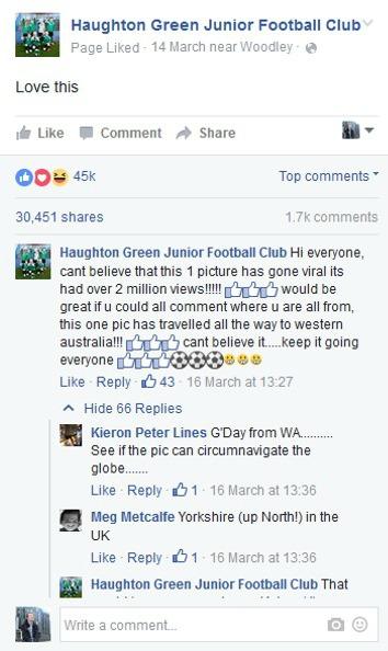 Haughton Green JFC post on Facebook