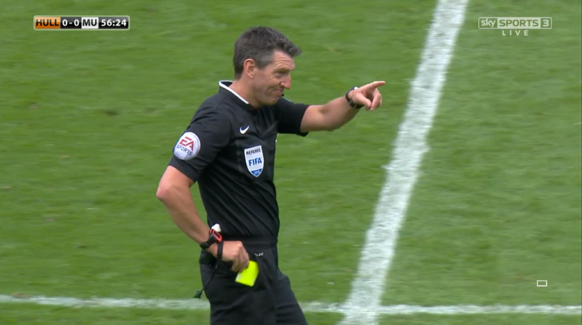 Lee Probert pulls out yellow card (Hull v Man Utd - 24th May 2015)