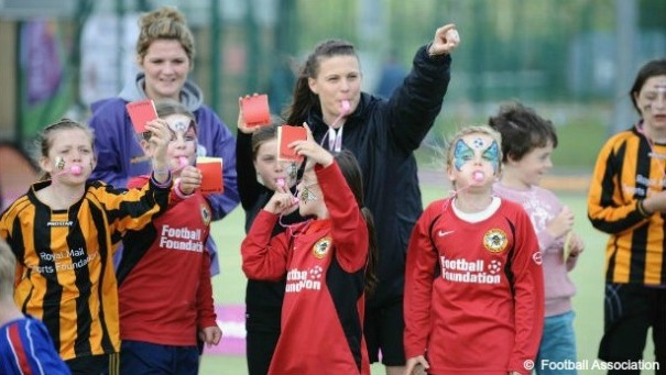 Lucy Oliver at Suffolk FA Women recruitment event
