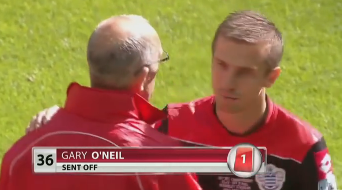 QPR midfielder Gary O'Neil sent off in 2014 Champ PO Final