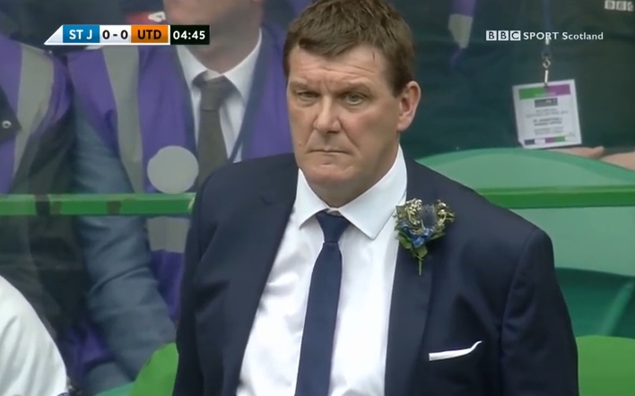 St Johnstone boss Tommy Wright in 2014 Scottish Cup Final