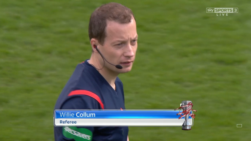 Willie Collum referee (Motherwell v Celtic - 9th April 2016)