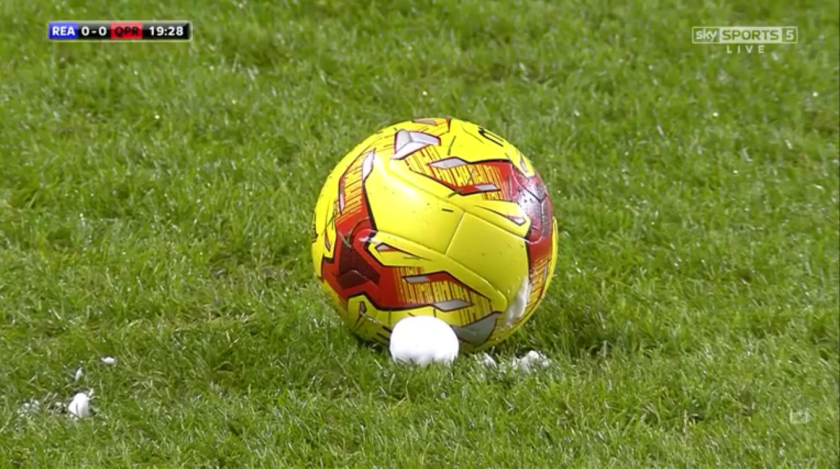 Ball and vanishing spray (Reading v QPR - 3rd Dec 2015)