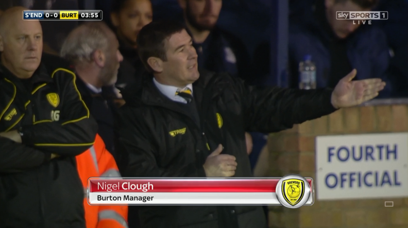 Nigel Clough on sidelines (v Southend - 22nd Feb 2016)