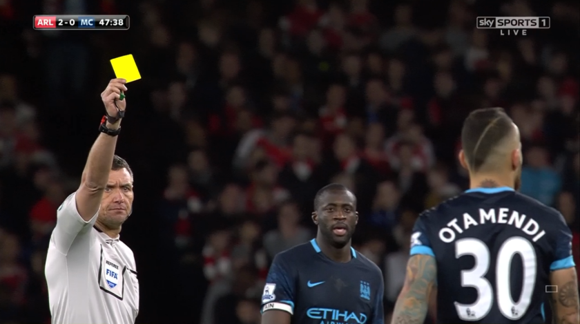 Andre Marriner books Nicolas Otamendi (v Arsenal - 21st Dec 2015)