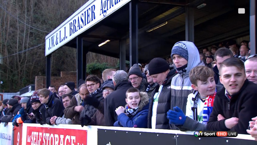 Dover Athletic supporters before KO (v C Palace in FA Cup - 4th Jan 2015)