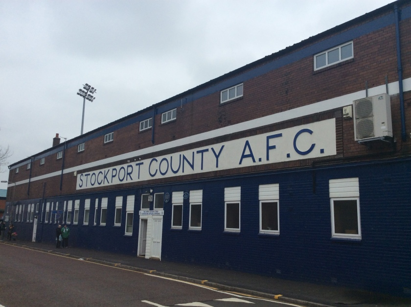 Stockport County sign outside Edgeley Park
