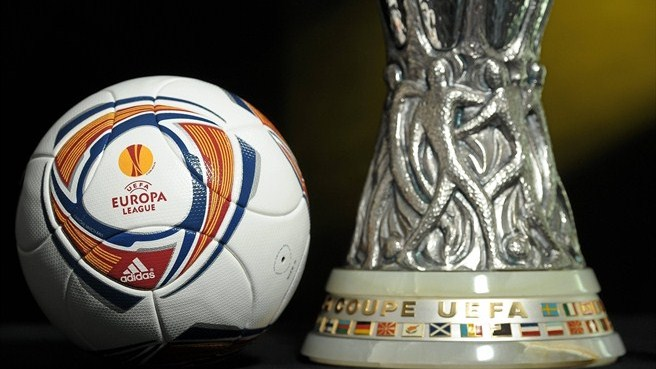 Uefa Europa League ball and trophy