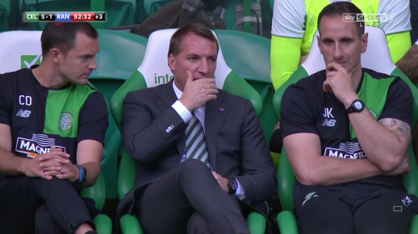 Brendan Rodgers with Chris Davies and John Kennedy