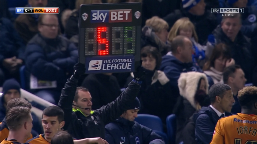 Tim Robinson signals 5 added mins (Brighton v Wolves - 1st Jan 2016)